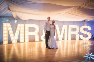 MR & MRS giant light up letters to hire