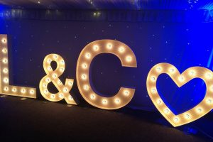 Light up initials letter hire